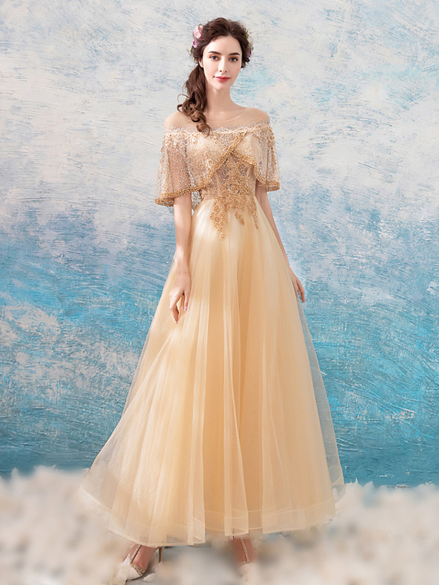 A-Line Elegant Glittering Wedding Guest Formal Evening Dress Off Shoulder Half Sleeve Floor Length Tulle with Beading Lace Insert 2020