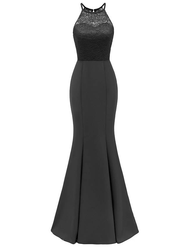 Mermaid Trumpet Elegant Minimalist Party Wear Formal Evening Dress Halter Neck Sleeveless Floor Length Lace with Pleats 2020