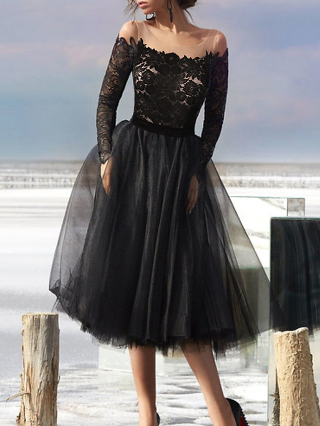 A-Line Little Black Dress Vintage Homecoming Cocktail Party Dress Illusion Neck Long Sleeve Tea Length Tulle with Pleats Appliques 2020