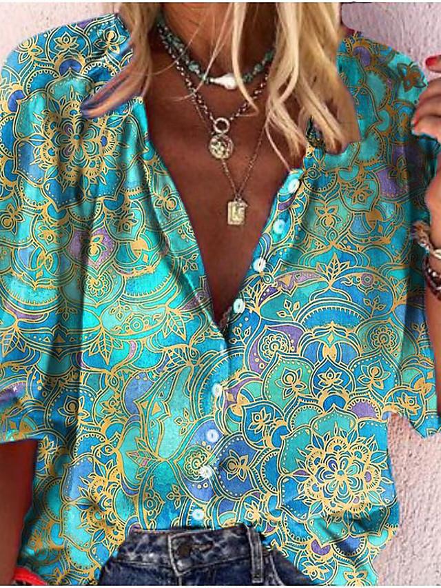 Dame Bluse Skjorte Abstrakt Blomstret Blomsternål i krystall Langermet Trykt mønster V-hals Topper Grunnleggende Grunnleggende topp Blå / Grønn Svart Blå
