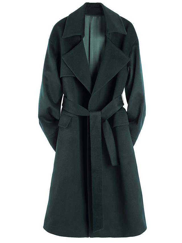 Women's Fall & Winter Coat Long Solid Colored Daily Basic Green S M L XL