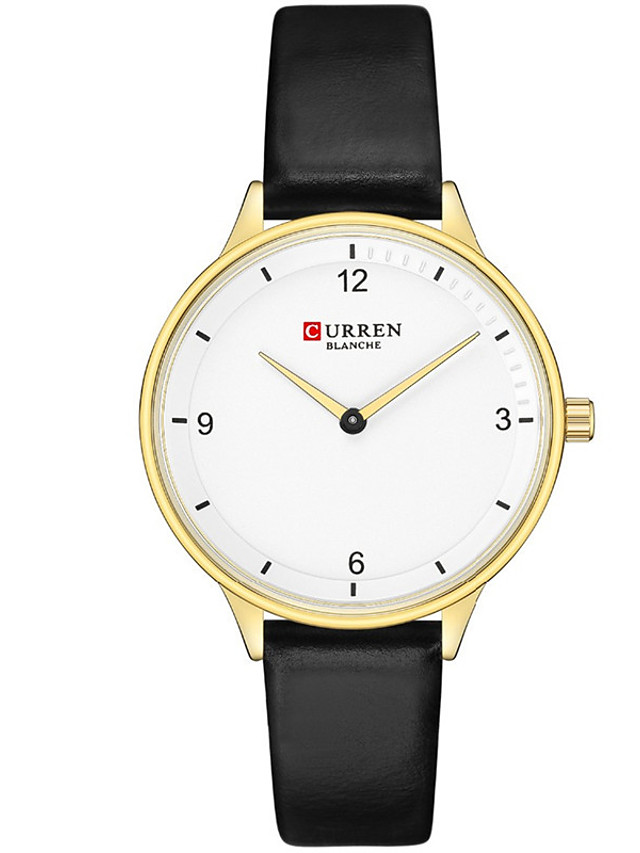 CURREN Women's Quartz Watches Quartz Formal Style Modern Style Minimalist Water Resistant / Waterproof Analog Rose Gold Black Red / One Year / Genuine Leather / Japanese / Shock Resistant