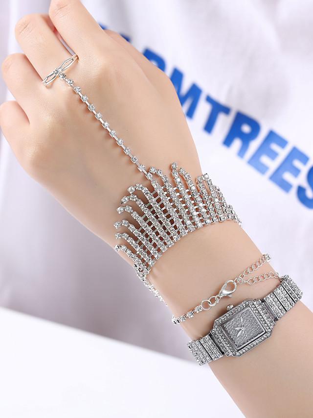 Women's Quartz Watches Quartz Classic Chronograph Analog Silver / Imitation Diamond