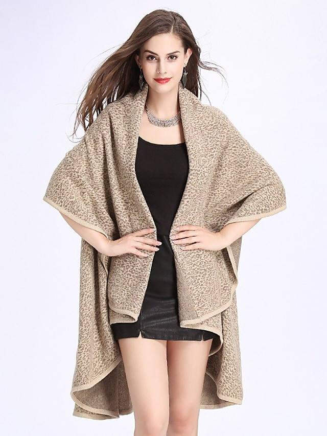 Women's Fall & Winter Open Front Cloak / Capes Regular Leopard Daily Basic Print Black Khaki Brown Navy Blue One-Size / Loose / Batwing Sleeve