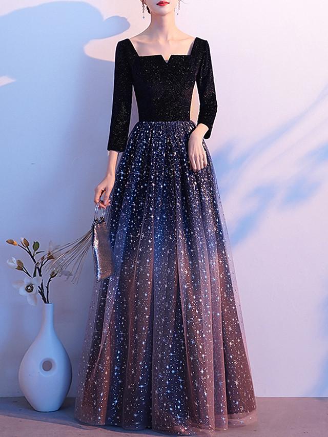 A-Line Glittering Minimalist Wedding Guest Formal Evening Dress Scoop Neck Long Sleeve Floor Length Tulle Velvet with Sequin 2020