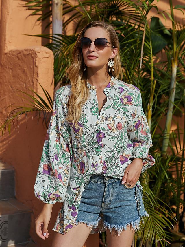 Women's Blouse Shirt Floral Flower Long Sleeve Print V Neck Basic Tops Green
