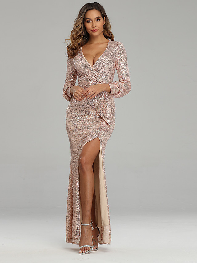 Mermaid Trumpet Sexy Sparkle Party Wear Formal Evening Dress V Neck Long Sleeve Floor Length Sequined with Sequin 2020