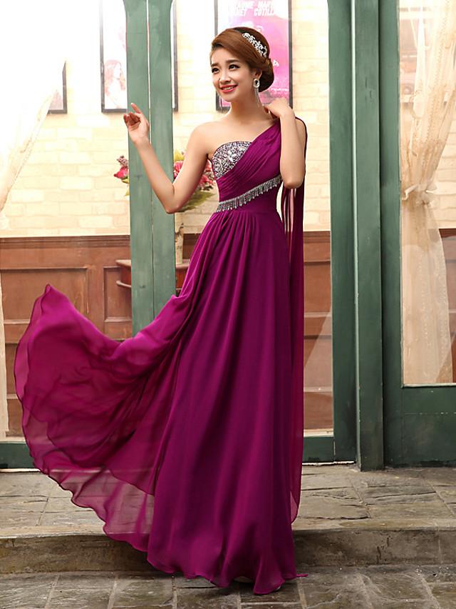 A-Line Elegant Minimalist Wedding Guest Formal Evening Dress One Shoulder Sleeveless Floor Length Chiffon with Pleats Crystals 2020