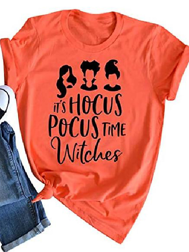 Women's Halloween T-shirt Tops Basic Halloween Basic Top Orange-A Orange-B Orange-C