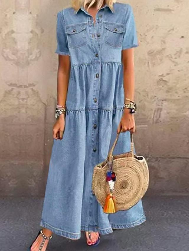 Women's Denim Shirt Dress Maxi long Dress Dark Blue Light Blue Short Sleeve Solid Color Pocket Button Summer Shirt Collar Chic & Modern Hot Casual vacation dresses 100% Cotton 2021 S M L XL XXL 3XL