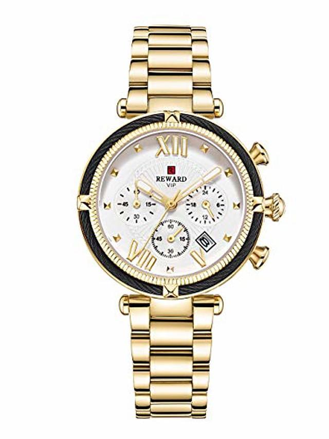 chronograph sports women quartz wrist watch with calendar,waterproof,stainless,fashion design for female (gold)