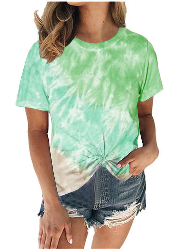 Women's T-shirt Tie Dye Print Round Neck Tops Loose Basic Basic Top Blue Purple Wine