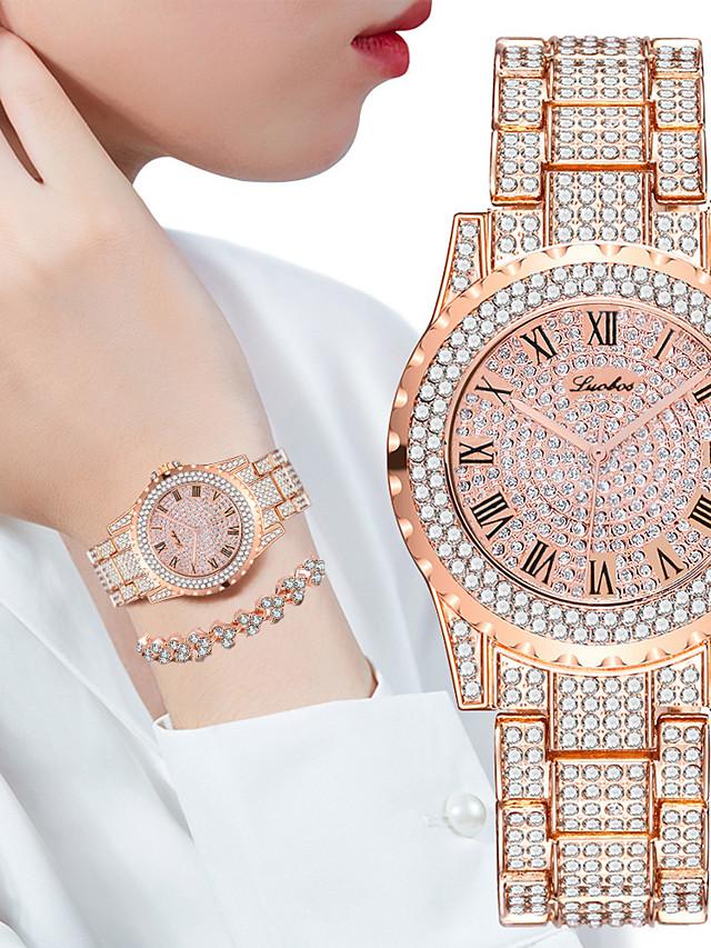 Women's Steel Band Watches Quartz Stylish Glitter Sparkle Chronograph Analog Rose Gold Gold Silver