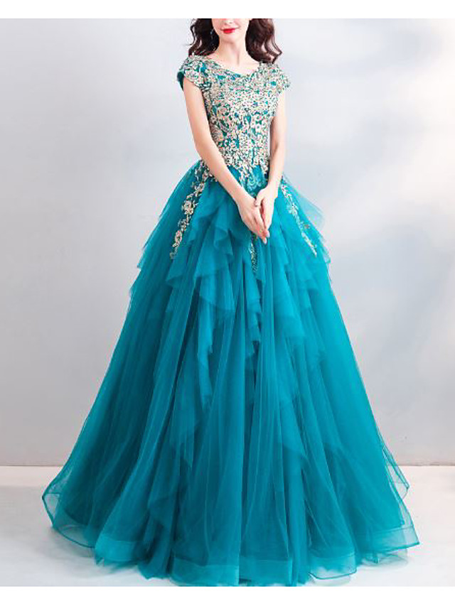 Ball Gown Elegant Floral Quinceanera Formal Evening Dress Jewel Neck Short Sleeve Floor Length Tulle with Beading Appliques 2020