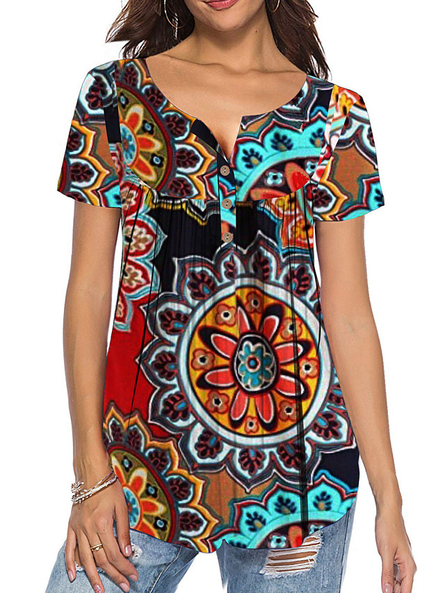Women's T-shirt Floral Flower Button Print V Neck Tops Loose Basic Basic Top White Black Blue