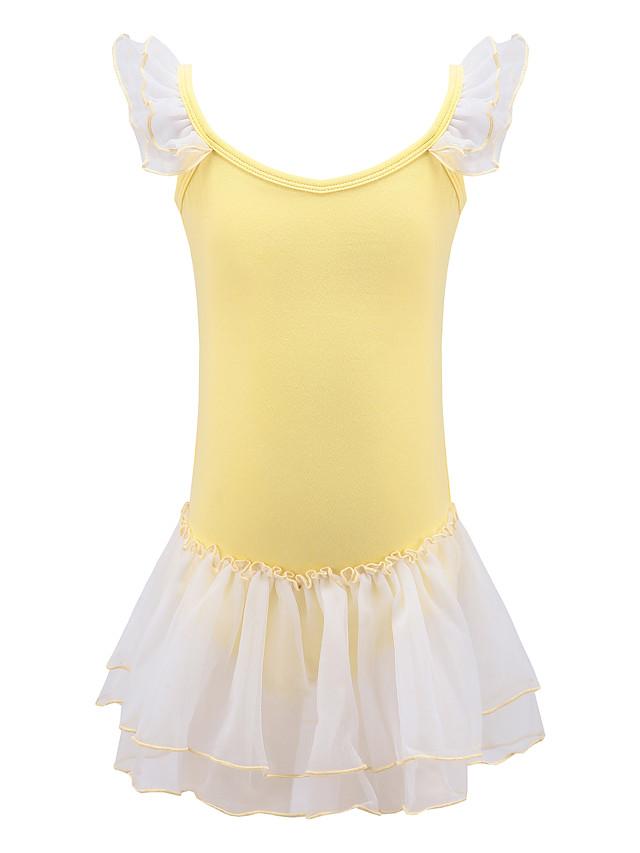 Rhythmic Gymnastics Leotards Girls' Kids Dancewear Spandex Stretchy Breathable Handmade Sleeveless Training Ballet Dance Rhythmic Gymnastics Yellow