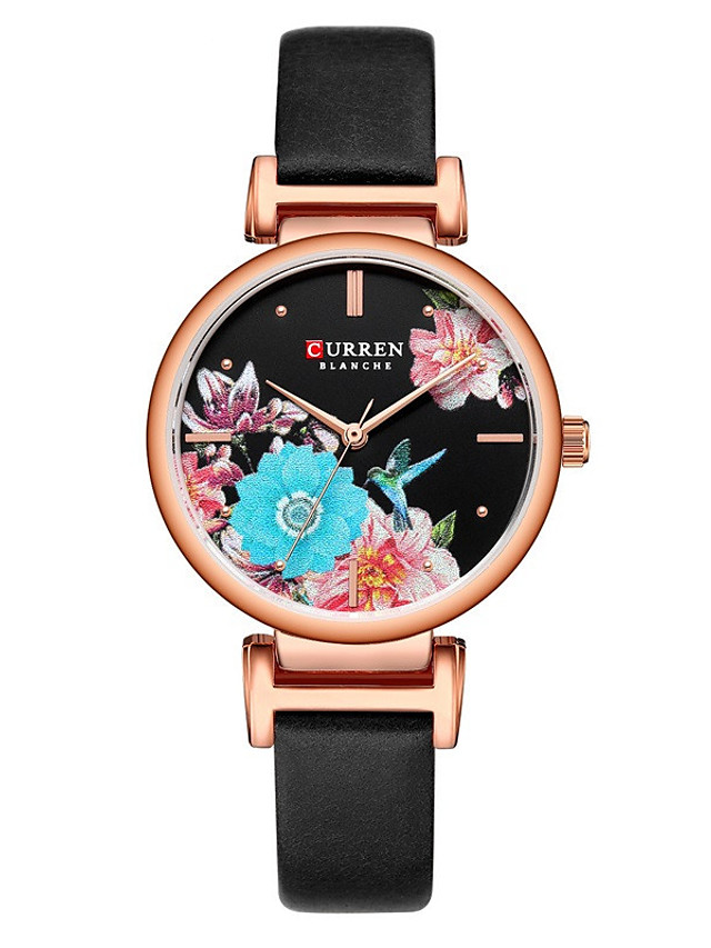 CURREN Women's Quartz Watches Quartz Modern Style Floral Style Minimalist Water Resistant / Waterproof Analog Rose Gold Black Gold / One Year / Genuine Leather / Japanese / Shock Resistant