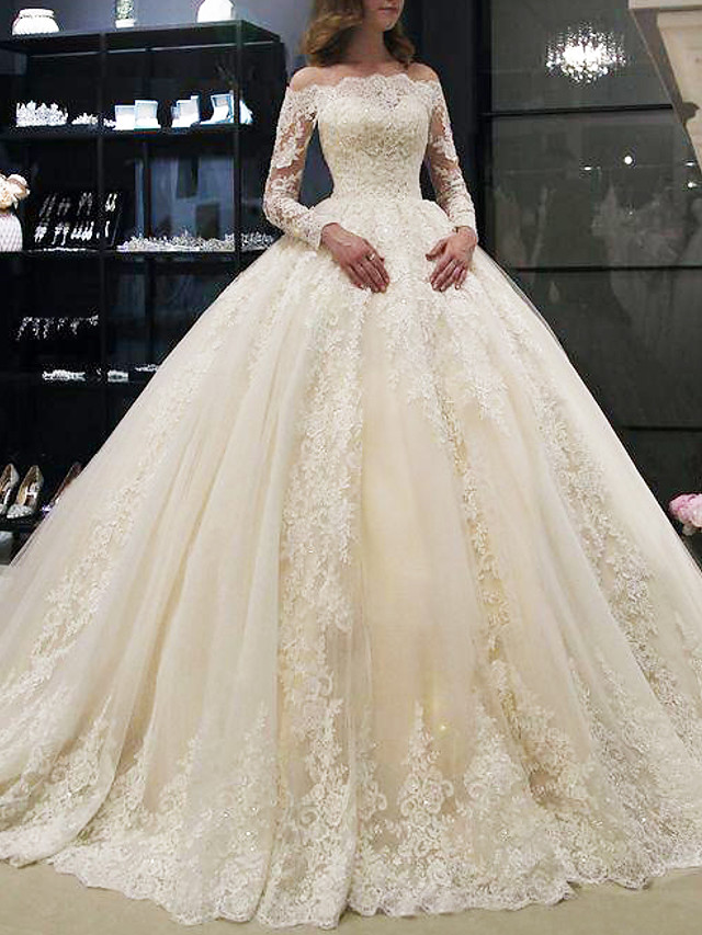 A-Line Wedding Dresses Off Shoulder Court Train Lace Long Sleeve Illusion Sleeve with Crystals 2020
