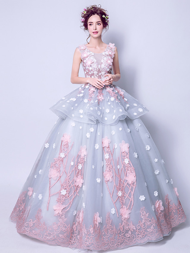 Ball Gown Elegant Floral Engagement Formal Evening Dress Jewel Neck Sleeveless Floor Length Tulle with Tier Appliques 2020
