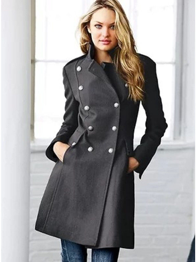 Women's Fall & Winter Double Breasted Stand Collar Coat Long Solid Colored Daily Basic Wool Black Gray S M L XL