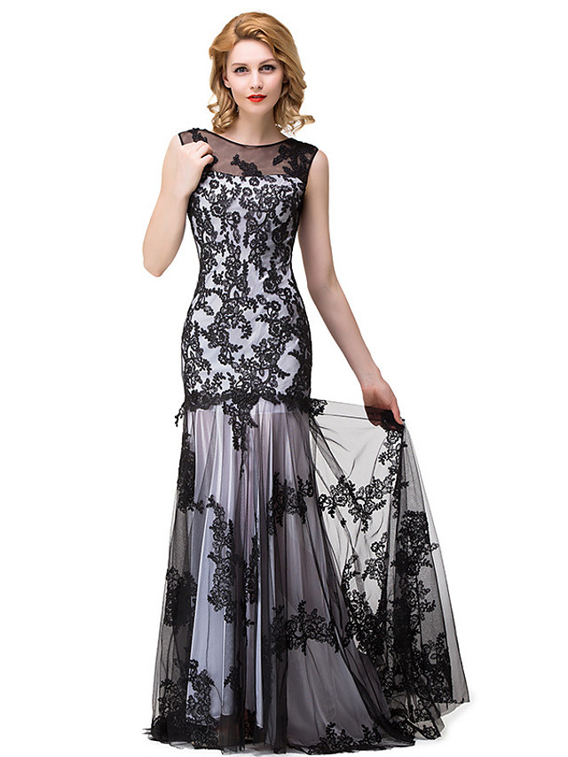 Mermaid / Trumpet Elegant Floral Engagement Formal Evening Dress Illusion Neck Sleeveless Floor Length Lace with Pleats 2020
