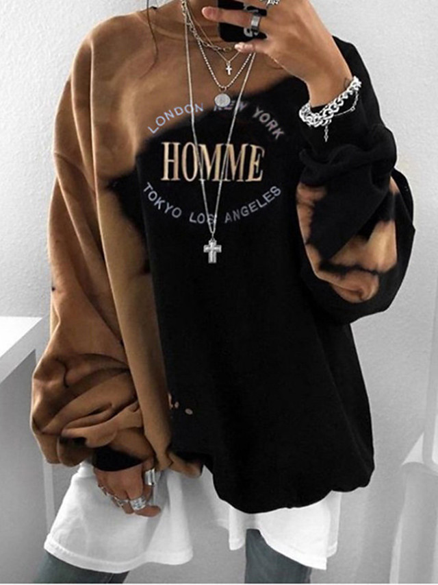 Women's Hoodie Sweatshirt Graphic Text Letter Oversized Daily Other Prints Basic Oversized Hoodies Sweatshirts  Loose Black