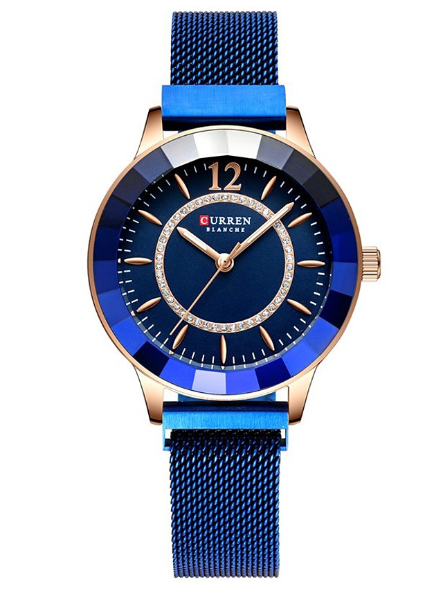 CURREN Women's Quartz Watches Quartz Formal Style Modern Style Luxury Water Resistant / Waterproof Analog Rose Gold Black Blue / One Year / Stainless Steel / Japanese / Shock Resistant / Noctilucent