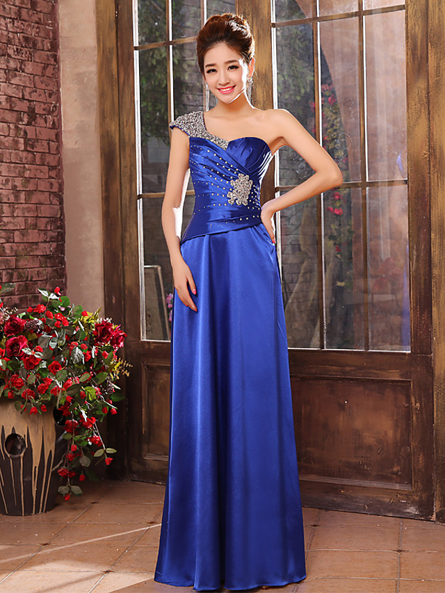 A-Line Elegant Minimalist Wedding Guest Formal Evening Dress One Shoulder Sleeveless Floor Length Charmeuse with Ruched Crystals 2020