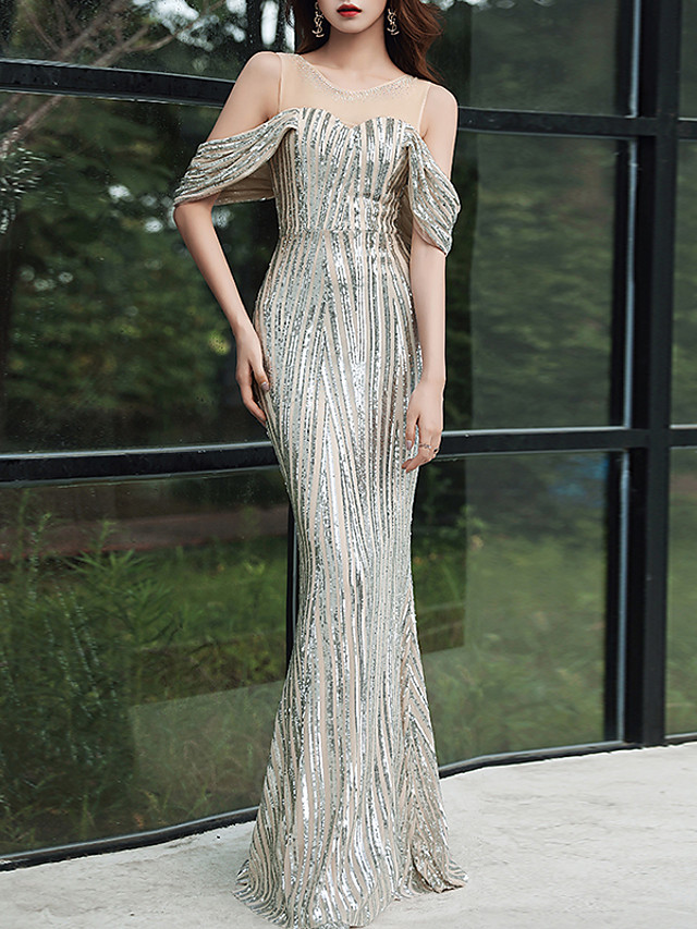 Mermaid / Trumpet Sexy Sparkle Party Wear Formal Evening Dress Illusion Neck Short Sleeve Floor Length Tulle Sequined with Crystals Sequin 2020