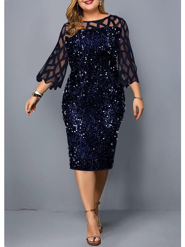 Women's Plus Size Dress Shift Dress Knee Length Dress Black Wine Navy Blue 3/4 Length Sleeve Solid Color Patchwork Fall Summer Round Neck Vintage 2021 L XL XXL 3XL 4XL 5XL