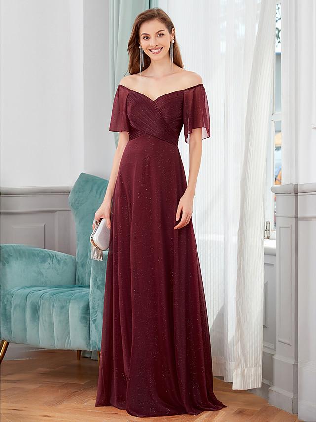 A-Line Minimalist Sexy Wedding Guest Formal Evening Dress V Neck Short Sleeve Floor Length Chiffon with Sleek 2020