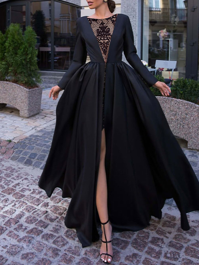 Ball Gown Luxurious Engagement Formal Evening Dress Illusion Neck Long Sleeve Floor Length Satin with Split Overskirt Lace Insert 2021