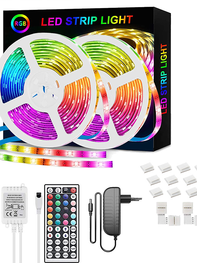 LED Strip Lights RGB 65.6ft -20M 32.8ft-10M Tape Light SMD5050 LED Strips with Remote Controller with 44 Keys IR Remote and 12V Power Supply Flexible Color Changing Apply to BedroomTV Party