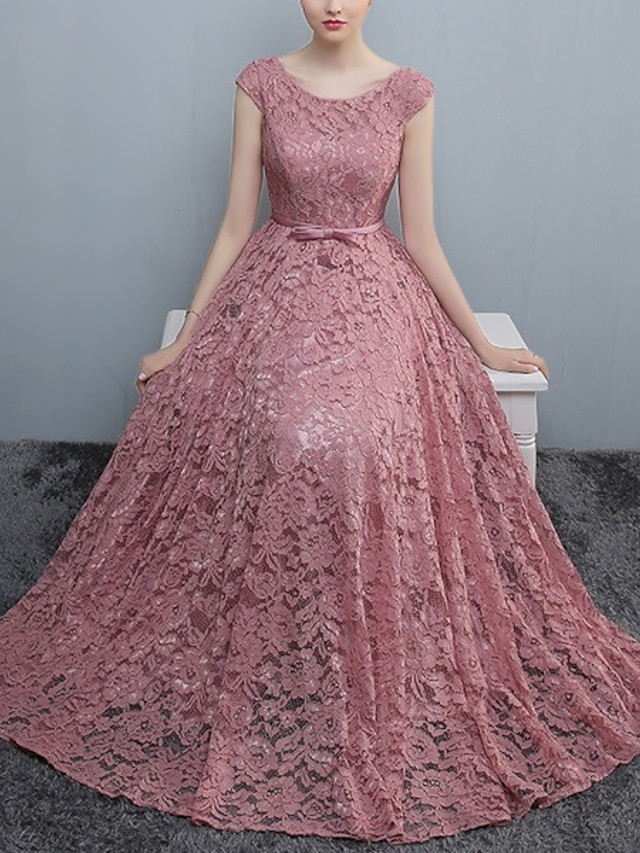 A-Line Cut Out Minimalist Prom Formal Evening Dress Jewel Neck Sleeveless Floor Length Lace with Pleats 2020