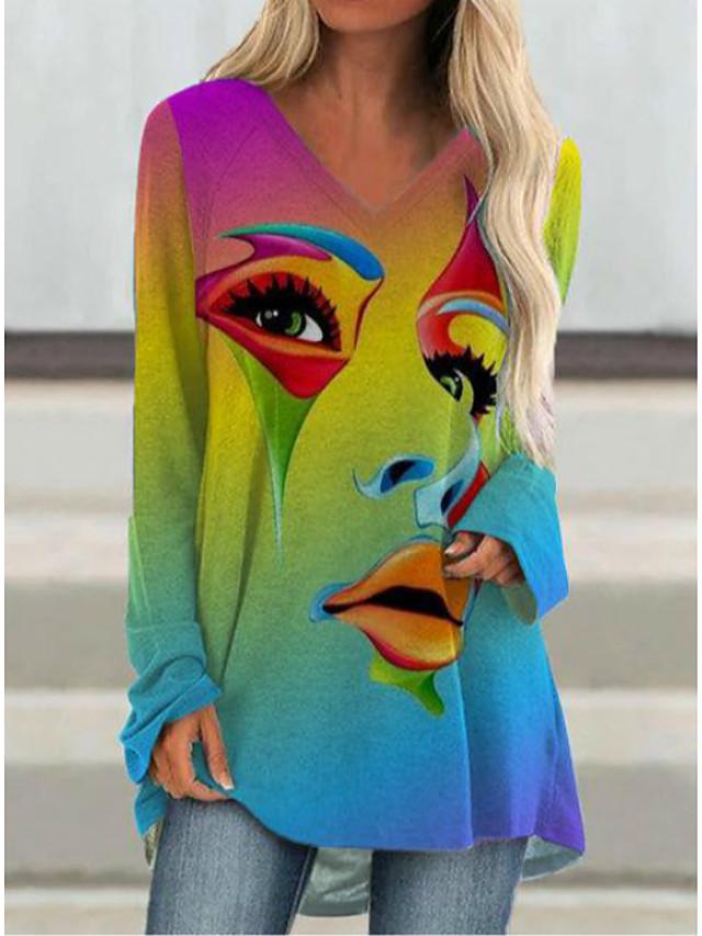 Dames T-shirt jurk Tuniek T-shirt Abstract Lange mouw Opdruk V-hals Tops Basic Basis-top Zwart Regenboog Grijs