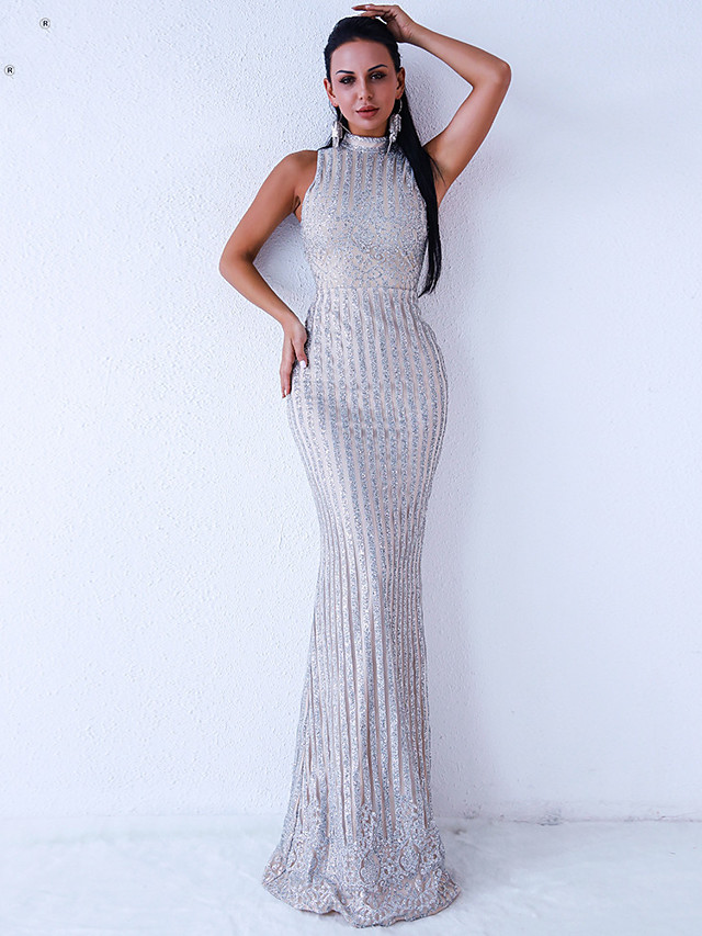 Sheath / Column Sexy bodycon Prom Formal Evening Dress High Neck Sleeveless Floor Length Spandex Sequined with Sequin 2020