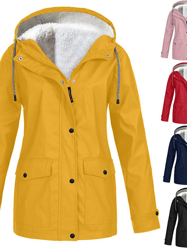 Women Rain Coat for Outdoor Waterproof Plus Size Hooded Raincoat Windproof Rain Jacket Fur Lined Lightweight Winter Coat