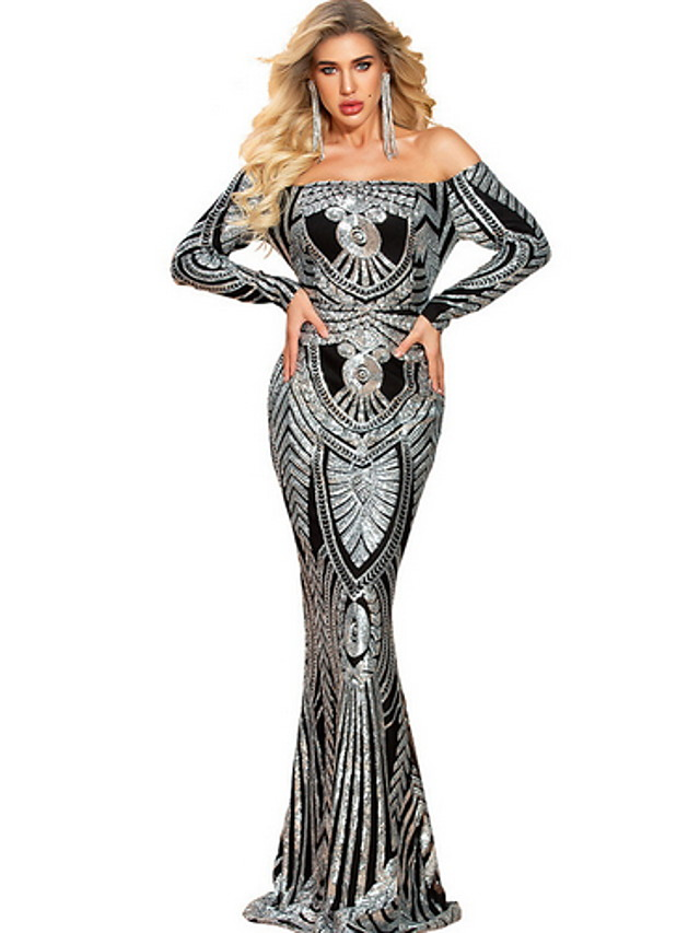 Mermaid / Trumpet Sexy bodycon Prom Formal Evening Dress Off Shoulder Long Sleeve Sweep / Brush Train Sequined with Sequin Pattern / Print 2020