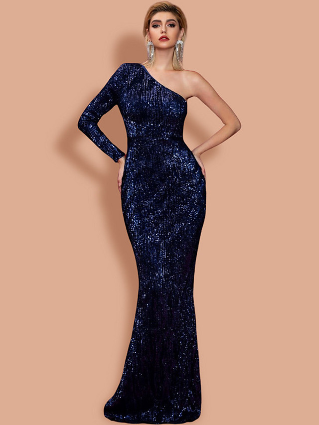 Mermaid / Trumpet Sexy bodycon Prom Formal Evening Dress One Shoulder Long Sleeve Floor Length Sequined with Sleek 2020