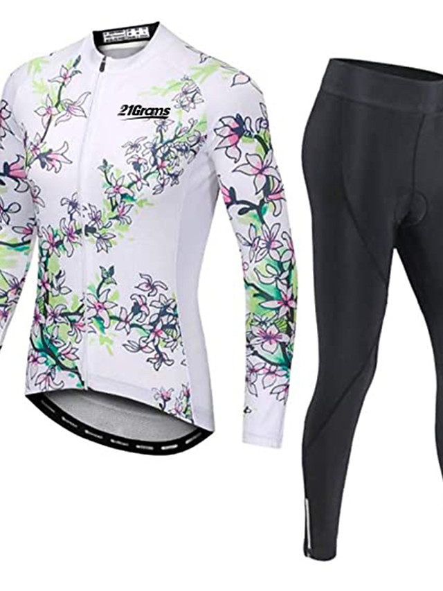 21Grams Men's Long Sleeve Cycling Jersey with Tights Winter Fleece Polyester White Floral Botanical Bike Clothing Suit Thermal Warm Fleece Lining 3D Pad Quick Dry Breathable Sports Graphic Mountain