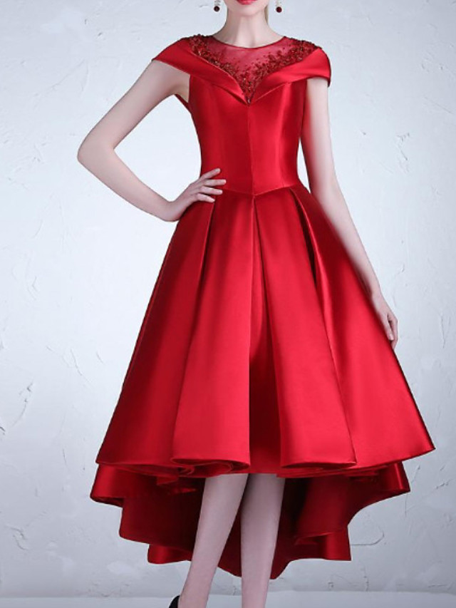 A-Line Luxurious Elegant Wedding Guest Cocktail Party Valentine's Day Dress Illusion Neck Short Sleeve Asymmetrical Satin with Pleats 2021