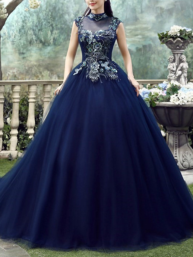 Ball Gown Elegant Floral Engagement Formal Evening Dress High Neck Sleeveless Chapel Train Lace Tulle with Appliques 2020