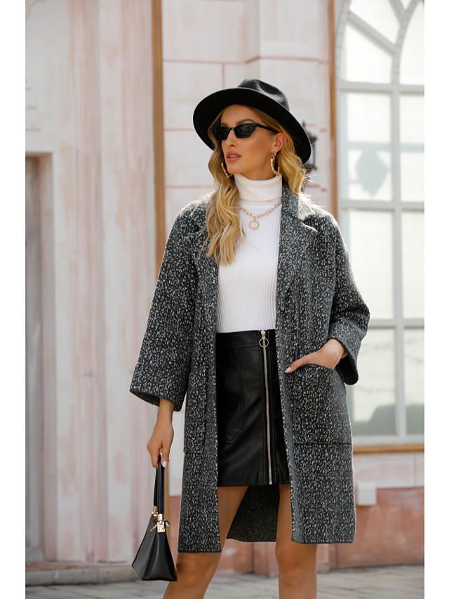 Women's Coat Solid Colored Basic Fall & Winter Peaked Lapel Long Daily Long Sleeve Wool Coat Tops Dark Gray