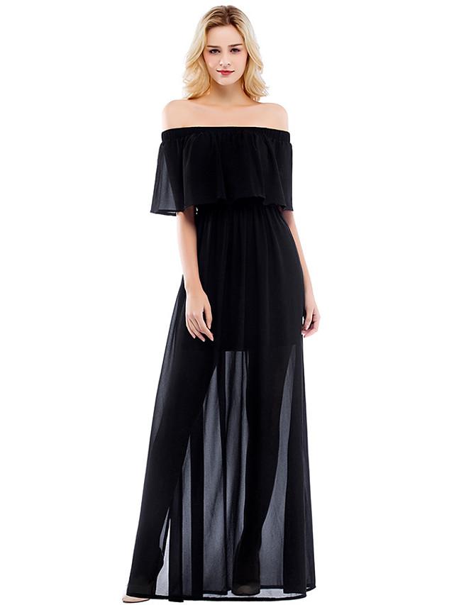 Sheath Column Elegant Minimalist Party Wear Formal Evening Dress Off Shoulder Half Sleeve Floor Length Chiffon with Pleats Split 2020