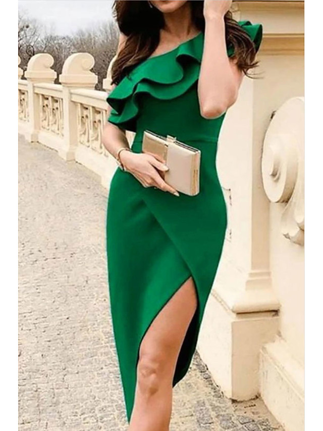 Sheath / Column Sexy Homecoming Cocktail Party Dress One Shoulder Sleeveless Asymmetrical Polyester with Ruffles Split 2021