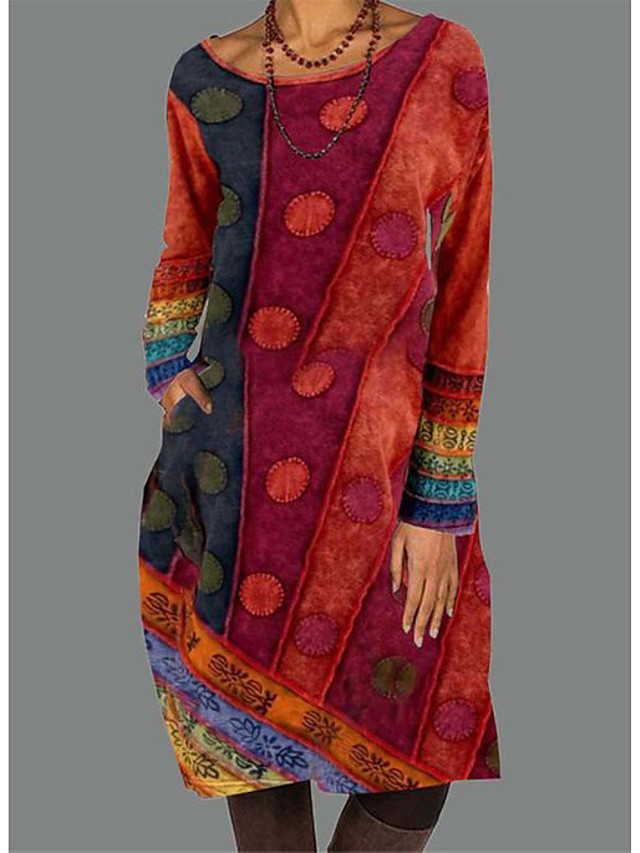 Women's Blue Red Long Sleeve Print Round Neck Casual Shift Midi Dress