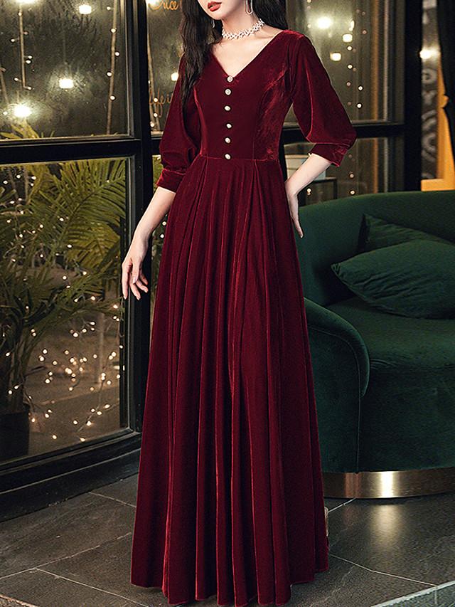 A-Line Minimalist Vintage Wedding Guest Formal Evening Dress V Neck Half Sleeve Floor Length Velvet with Buttons 2020