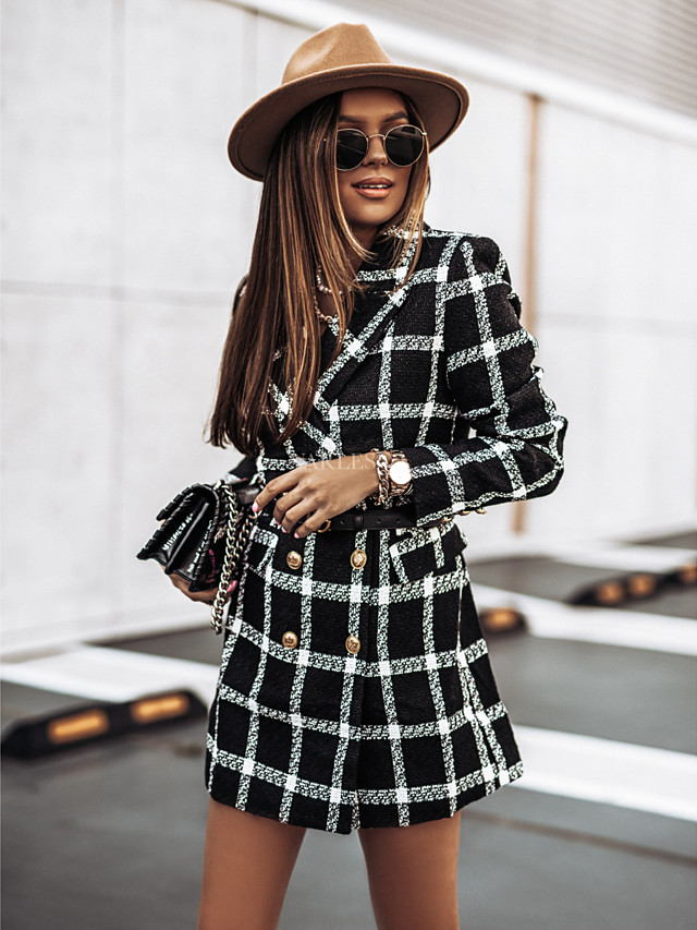 Women's Fall & Winter Double Breasted Coat Long Houndstooth Work Streetwear Patchwork Black & White White Black Blue Khaki S M L XL