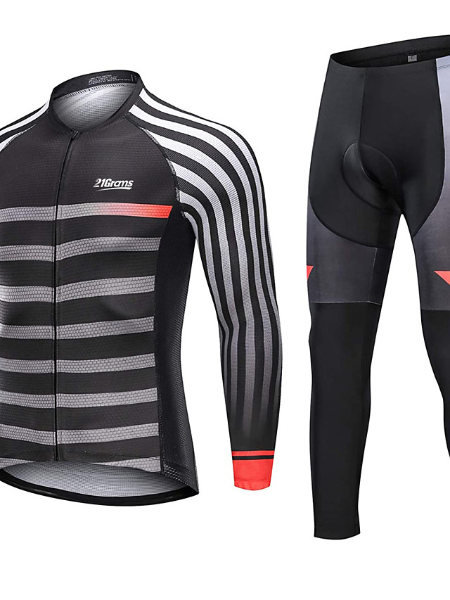 21Grams Men's Long Sleeve Cycling Jersey with Tights Winter Fleece Polyester Black Stripes Bike Clothing Suit Fleece Lining 3D Pad Warm Quick Dry Breathable Sports Stripes Mountain Bike MTB Road Bike