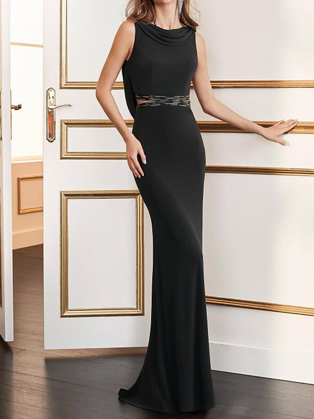 Sheath / Column Beautiful Back Sexy Wedding Guest Formal Evening Dress Jewel Neck Sleeveless Sweep / Brush Train Spandex with Sleek 2020